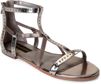 97e713a408 Donna Karan Pewter Kim Studded Metallic Flat Sandals