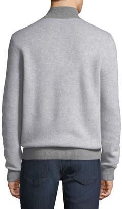 Neiman Marcus Men's Cashmere Two-Tone 1/4-Zip Sweater