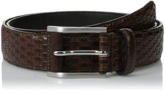 Stacy Adams Men's 32mm Full Grain Leather Top with Embossed Basket Weave Belt