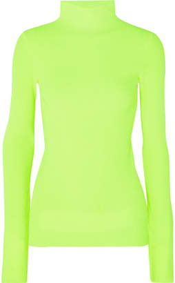 Helmut Lang Neon Ribbed Cotton Turtleneck Sweater - Green