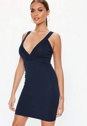 Missguided Navy Ponte Plunge Bodycon Dress