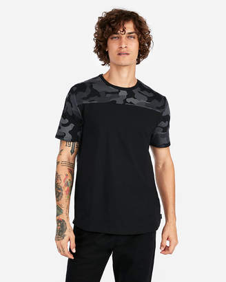 Express Camo Yoke Heat Seal Crew Neck Tee