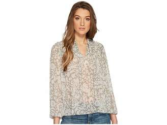 Lucky Brand Beaded Floral Peasant Top Women's Long Sleeve Pullover