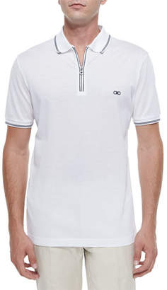 Salvatore Ferragamo Men's Cotton Pique Zip Polo Shirt with Gancini Chest Embroidery, White/Navy
