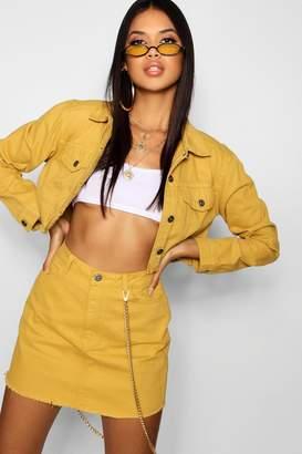boohoo Mustard Denim Skirt