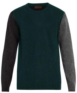 Altea Colour Block Wool Blend Sweater - Mens - Green Multi