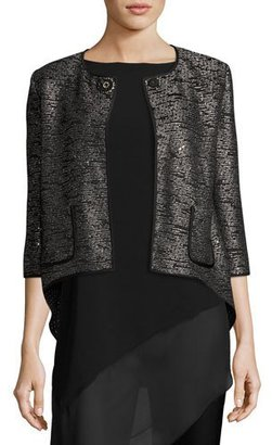 St. John Collection Anaya Sequined 3/4-Sleeve Jacket, Black Metallic $1,695 thestylecure.com