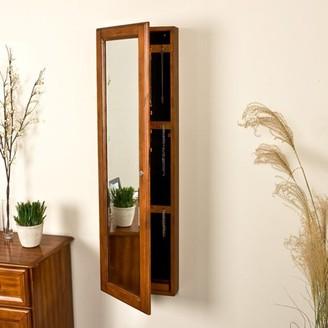 Southern Enterprises Wall-Mounted Mirror Jewelry Armoire, Warm Brown Walnut