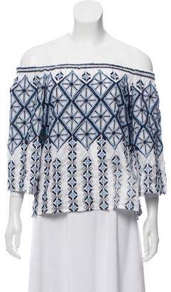 Miguelina Embroidered Off-The-Shoulder Blouse
