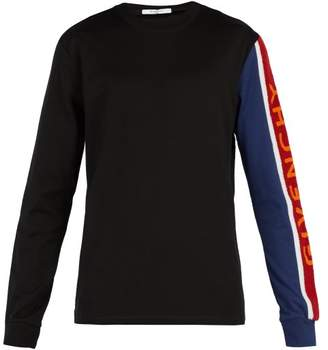 Givenchy Chenille Embroidered Cotton Jersey Sweatshirt - Mens - Blue