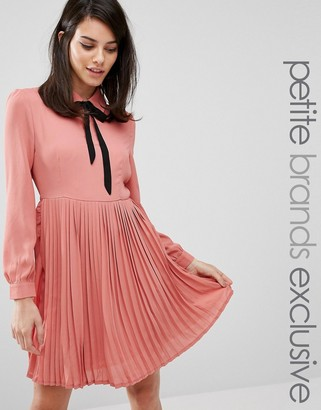 Fashion Union Petite Diana Pleated Skater Dress With Bow Tie $46 thestylecure.com