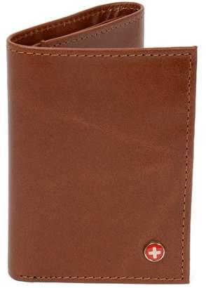 Alpine Swiss Mens Trifold Wallet Genuine Leather Card Case ID Window Billfold