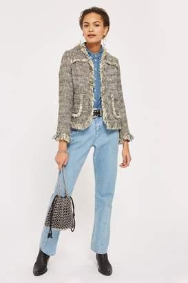 Topshop Cropped fringe boucle jacket
