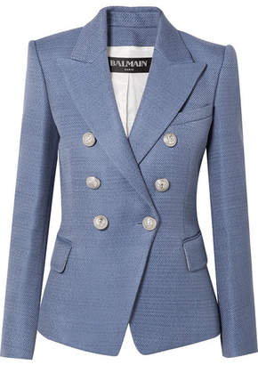 Balmain Double-breasted Wool-hopsack Blazer - Blue