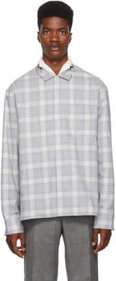 Lanvin Blue and White Checkered High Collar Shirt