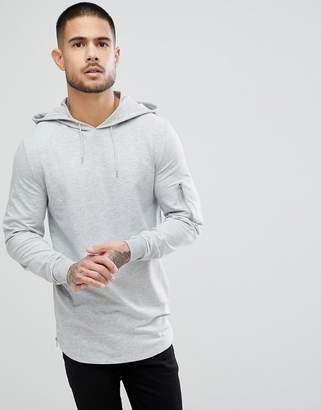 Asos DESIGN Muscle Longline Hoodie With Side Zips And Curved Hem And MA1 Pockets In Gray