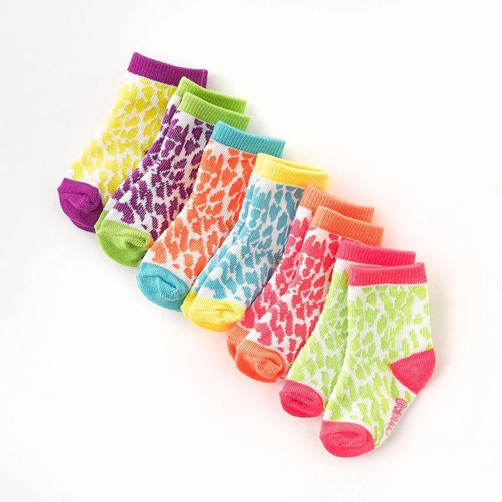 Pink Cookie 6-pk. neon cheetah socks - toddler