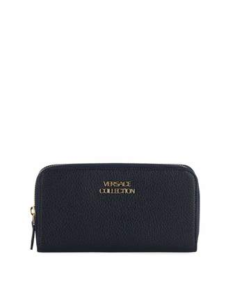 Versace Pebbled Leather Zip-Around Wallet, Navy