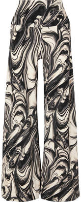 ef752050afbe9 Norma Kamali Elephant Marbled Stretch-jersey Wide-leg Pants - Dark gray