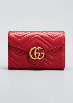 Gucci GG Marmont Chevron Quilted Leather Flap Wallet on a Chain