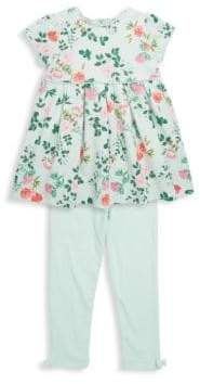 Little Me Little Girl's Two-Piece Botanical Dress and Leggings Set