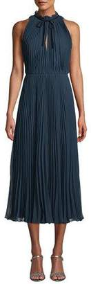 Jill Stuart Pleated Midi Dress w/ Self-Tie Neck