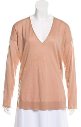Tom Ford V-Neck Leather-Accented Cashmere Knit Top