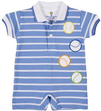 Florence Eiseman Stripe Pique Polo Shortall w/ Baseball Appliques, Size 3-24 Months