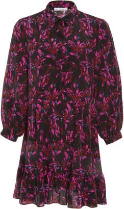 Les Rêveries Ruffle Hem Silk Shirt Dress