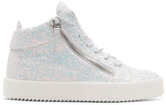 Giuseppe Zanotti White Glitter May London High-Top Sneakers