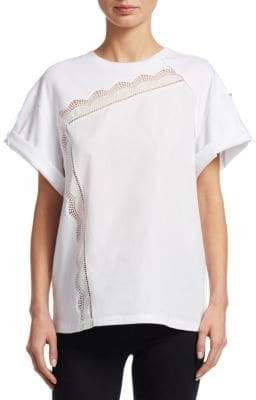 3.1 Phillip Lim Lace Trimmed Rolled Cuff Tee