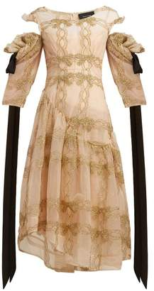 Simone Rocha Tinsel Trim Asymmetric Tulle Dress - Womens - Gold