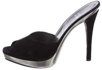 Stuart Weitzman Suede Slide Sandals