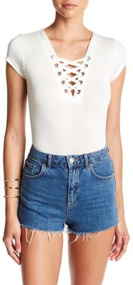 PLANET GOLD Short Sleeve Lace Up Bodysuit $12.97 thestylecure.com