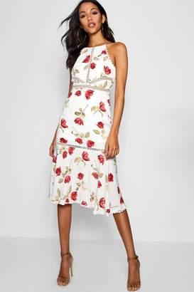 boohoo Floral Print panelled Ruffle Hem Midi Dress