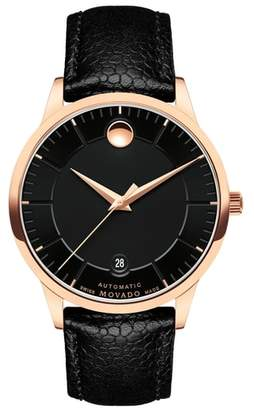 Movado 1881 Automatic Leather Strap Watch, 40mm
