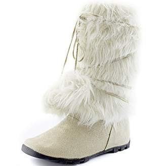 DailyShoes Warmer-01 Women Easy to Wear Comfortable Mukluk Boots Faux Fur Winter Boot