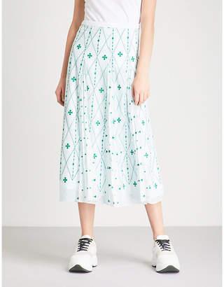 Sandro Embroidered chiffon midi skirt