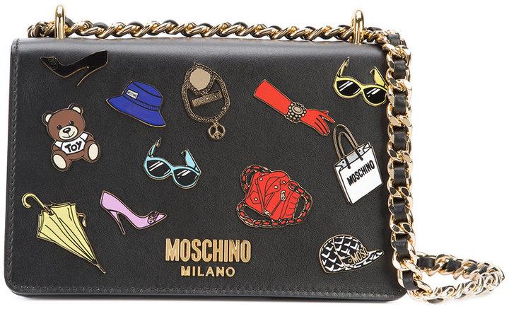 MoschinoMoschino multi charm sticker effect bag