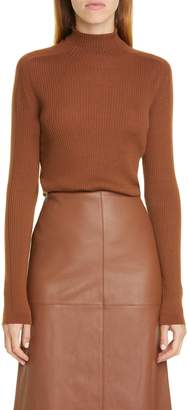 Lafayette 148 New York Funnel Neck Ribbed Wool Blend Sweater
