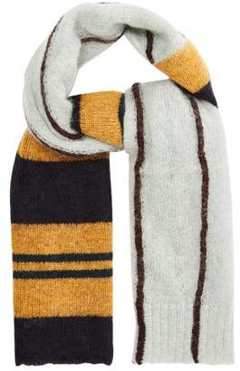 Marni Striped Knit Scarf - Mens - Navy Multi