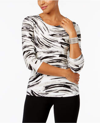 JM Collection Petite Printed Jacquard Top