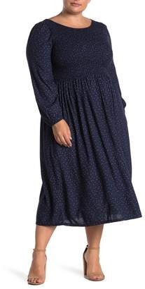 Susina Smocked Printed Boho Midi Dress (Plus Size)