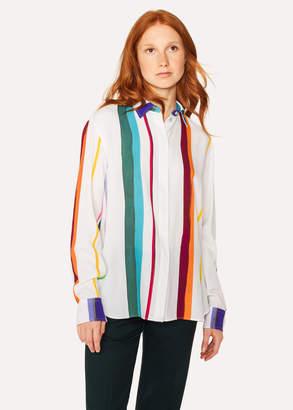 Paul Smith Women's White 'Brush Stripe' Print Shirt