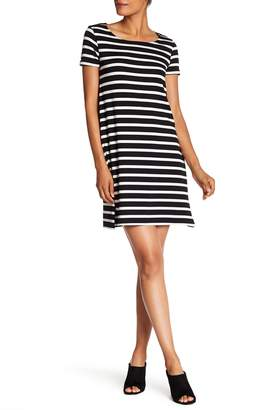 Joan Vass Striped Scoop Neck Dress