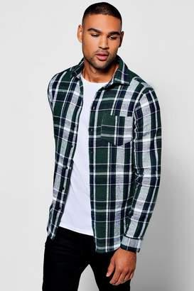 boohoo Green Check Long Sleeve Shirt