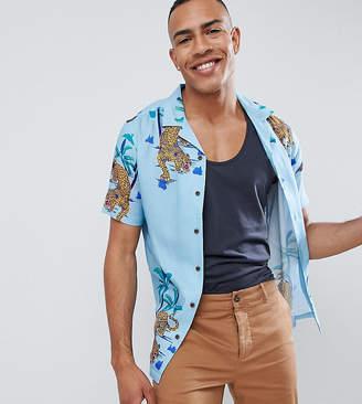 Asos DESIGN Tall regular fit shirt with cheetah hem print in blue