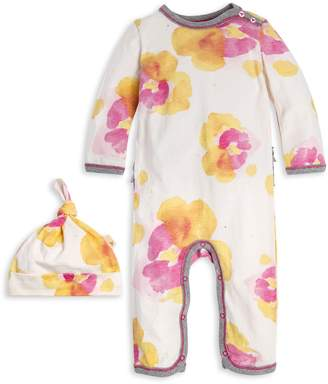 Burt's Bees Pansy Floral Organic Baby Ruffle Jumpsuit & Hat Set