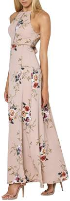 Glamaker Women's Boho Halter Backless Maxi Dress Long Floral Print Dress with Slit
