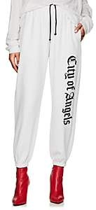 """ADAPTATION Women's """"City Of Angels"""" Embroidered Cotton Terry Sweatpants - White"""